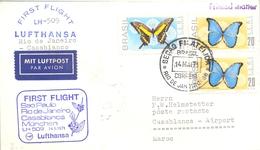 1971 BRASIL  , PRIMER VUELO / FIRST FLIGHT , LUFTHANSA , RIO DE JANEIRO - CASABLANCA - Cartas