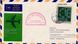 1971 CONGO   , PRIMER VUELO / FIRST FLIGHT , LUFTHANSA , KINSHASA - FRANKFURT - FDC