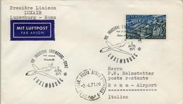 1971 LUXEMBURGO   , PRIMER VUELO / FIRST FLIGHT , LUXAIR , LUXEMBOURG - ROMA - Luxemburgo