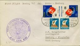 1972 JAPÓN   , PRIMER VUELO / FIRST FLIGHT , JAL , TOKYO - HAMBURG - 1926-89 Empereur Hirohito (Ere Showa)