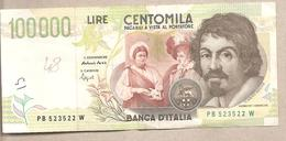 """Italia - Banconota Circolata Da 100.000 Lire """"Caravaggio 2° Tipo"""" - P-117a 1995 - [ 2] 1946-… : Républic"""