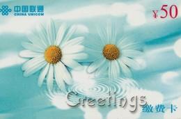 TARJETA TELEFONICA DE CHINA. FLORES - FLOWERS. GREETINGS). 2002-08-01. (397) - Flores