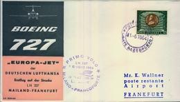 1964 ITALIA   , PRIMER VUELO / FIRST FLIGHT , LUFTHANSA , MILANO - FRANKFURT - 6. 1946-.. República