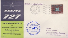 1964 ITALIA   , PRIMER VUELO / FIRST FLIGHT , LUFTHANSA , ROMA - MONACO - DÜSSELDORF - 6. 1946-.. República