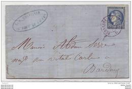 045. LAC N°45 Type2 Bleu-Fcé - Amb. Bordeaux à Paris - Port De Sainte Foy (GIRONDE) - 1871 - Poststempel (Briefe)
