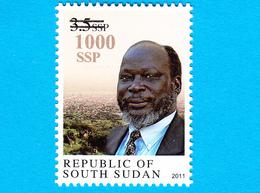 SOUTH SUDAN Surcharged Overprint On 3.5 SSP Dr John Garang Stamp Of The 1st Set SOUDAN Du Sud Südsudan - Zuid-Soedan