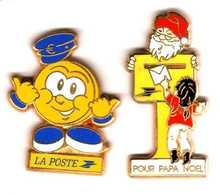 2 Pin's Poste L'euro Et Papa Noël Zamac Arthus Bertrand Et Ballard - Mail Services