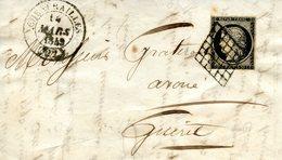 Cérès 20 C Noir (YT N° 3) Sur Fragment De Lettre De Chenerailles Pour Guéret, Datée Du 14/03/1849 - 1849-1850 Cérès