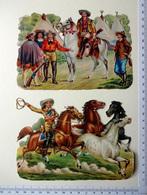 2 CHROMOS DECOUPIS...11 / 15 Cm...... VIE DES INDIENS ET COW-BOYS - Victorian Die-cuts
