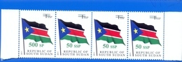 SOUTH SUDAN Surcharge Overprint ERROR On The 50 SSP OP On 1 SSP Flag Stamp:  500 SP Südsudan Soudan Du Sud - Sud-Soudan