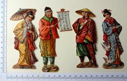 4 CHROMOS DECOUPIS...12  Cm......PERSONNAGES CHINOIS - Découpis