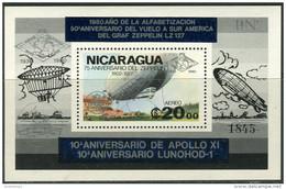 Nicaragua 1980. Michel Bl.#131-Aa MNH/Luxe. Zeppelins. (Ts27) - Zeppelins