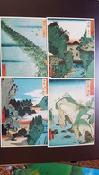JAPANESE GRAVURE - HIROSHIGE - 4 Postcards Lot - Utagawa Hiroshige - Old PC - Japon