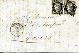 Lettre Avec Contenu De Paris Pour Tours, Affranchie Par Une Paire De Cérès 20 C Noir (YT N° 3), Datée Du 20/06/1849 - 1849-1850 Cérès