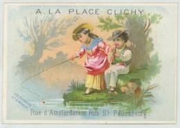 Chromo Ancienne A LA PLACE CLICHY . Fables De La Fontaine . Les Poissons Et Le Berger Qui Joue De La Flûte . - Autres