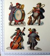 """4 CHROMOS DECOUPIS.......MUSICIENS """"RUSTIQUES ! """"..CONTREBASSE...GROSSE CAISSE ...TROMBONE........ - Découpis"""