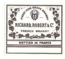 étiquette   - 1920/1940 - FRENCH BRANDY  Richard Robert - étiquette Pour Flask 7.5cm X 5.5cm - Whisky