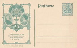 Ganzsache - Zur Erinnerung An Die Silber-Hochzeits-Feier Des Württ. Königspaares 8. April 1911  (40009) - Germany