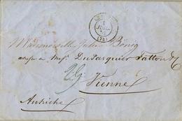 1852 , FRANCIA , LE HAVRE - VIENNE , CARTA COMPLETA , FECHADOR DE VIENA EN ROJO AL DORSO - Marcofilia (sobres)