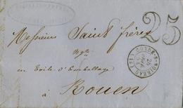1854 , FRANCIA , CONDÉ S. NOIREAU - ROUEN , LLEGADA AL DORSO - Marcofilia (sobres)