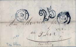 "1850 , FRANCIA , STRASSBOURG - THOR , AMBULANTE "" STRASSBOURG Á BALE "" , TRÁNSITO "" LYON "" , LLEGADA  "" 86 / THOR "" - Marcofilia (sobres)"