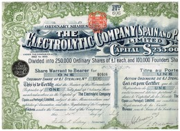 Titre Ancien - The Electrolytic Company (Spain And Portugal) - Titre De 1905 - Industrie