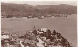 Wellington New Zealand, View Of Harbour & Town From Mt. Victoria, C1930s Vintage Real Photo Postcard - Nouvelle-Zélande
