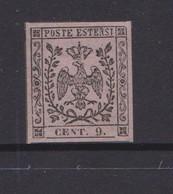 Italy -Modena  Sassone 3 1855 9c Violet Grey Mint - Modena