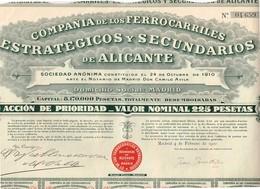 Titre Ancien - Compañia De Los Ferrocarrilles Estrategicos Y Secundarios De Alicante. - Titre De 1920 - Chemin De Fer & Tramway
