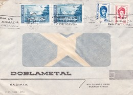 """DIA DE LA ARMADA NACIONAL"" BANDELETA PARLANTE AÑO 1974 SOBRE COMERCIAL DOBLAMETAL STAMP A PAIR - BLEUP - Argentina"