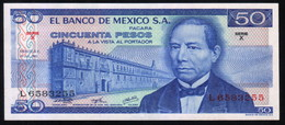 MEXICO 50 Pesos ( Juarez ) 18/07/1973 Serie X L6583255 Pick-65a UNC - México