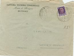 IMPERIALE Cent.50-SOVRASTAMPATO R.S.I.-27/9/1944-TIMBRO POSTE BAZZANO(BOLOGNA)-ESATTORIA MONTE DI BOLOGNA,BAZZANO - Storia Postale