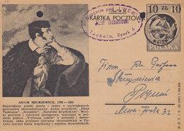 Poland Postal Stationery Ganzsache Entier 10 Zl Auf 6 (10) Zl  Bildpostkarte 'Adam Mickiewicz' TUCHOLA 1949 - Ganzsachen