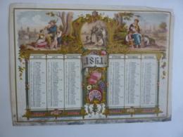 ALMANACH 1861  CALENDRIER Chromo- Lithographie   Allégorie Campagne En Famille  Médaillon + ARABESQUE - Calendriers