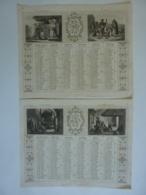 ALMANACH  1852 CALENDRIER 2 SEMESTRIELS  Lithographie    Allégorie RELIGION  , Arabesque Impr Dubois -Trianon - Calendriers