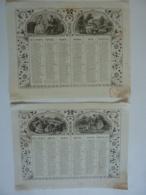 ALMANACH  1857 CALENDRIER 2 SEMESTRIELS  Lithographie    Allégorie  La Famille    Arabesque  Impr Dubois -Trianon - Calendriers