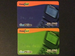 2 RECHARGES GSM VIET- NAM   VINA CARD  *300.000 D *500.000 D  Vina Phone - Vietnam
