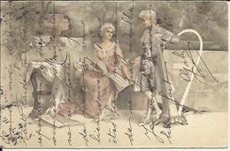 78 CPA Couple Chant Et Harpe .. - Arts