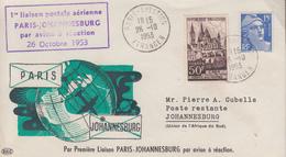 Enveloppe  1ére  Liaison  Postale  Aérienne   PARIS - JOHANNESBOURG   1953 - Postmark Collection (Covers)
