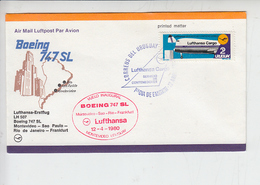 "URUGUAY  1980 - Yvert 1054 - Volo Inaugurale "" LUFTHANSA CARGO"" - Aerei"