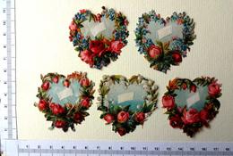 5 CHROMOS DECOUPIS......COURONNES DE FLEURS EN FORME DE CŒUR - Fleurs