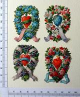 4 CHROMOS DECOUPIS......COURONNES DE FLEURS ENTOURANT UN CŒUR - Flowers