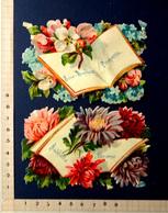 2 CHROMOS DECOUPIS.........9 / 14 Cm.......MESSAGES DE VŒUX ET SOUHAITS ENTOURES DE FLEURS - Fleurs