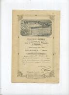 TONGEREN : College St MATERNE : Certificat D'honneur 1884 - 1885 ( Zie Scan Voor Detail )  23 X 15 Cm - Diplômes & Bulletins Scolaires
