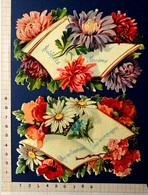 2 CHROMOS DECOUPIS.........7 / 11 Cm.......MESSAGES DE VŒUX ET SOUHAITS ENTOURES DE FLEURS - Fleurs