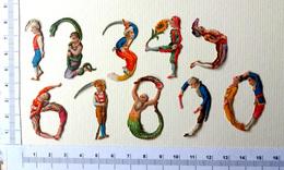 10 PETITS CHROMOS DECOUPIS......H:+- 3.5 Cm....PERSONNAGES ACROBATES QUI FORMENT DES CHIFFRES - Victorian Die-cuts