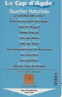 Cap D'agde-carte Magnetique Entrée Quartier Naturiste-2002 - Autres