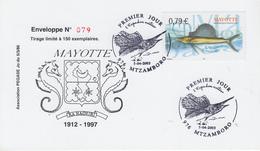 Carte  1er  Jour   MAYOTTE   Poisson  :  L' Espadon  Voilier   2003 - Mayotte (1892-2011)