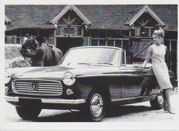 CARTE POSTALE VOITURE PEUGEOT 404 CABRIOLET 1961 AVEC PIN UP -  10X15 CM - Voitures De Tourisme