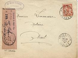 1904- Enveloppe De Pouzauges ( Vendée ) Affr. 15 C Mouchon Avec Récépissé De Dépôt Rose - Marcophilie (Lettres)